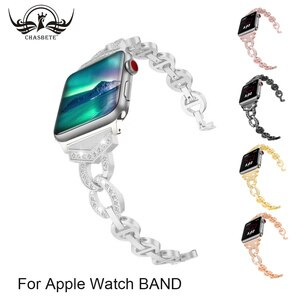 Crystal Stainless Apple Watchband Series 5 4 3 2 1 38mm 42mm iWatch Apple Watch Bands 40mm 44mm Strap Bracelet Silvery Black