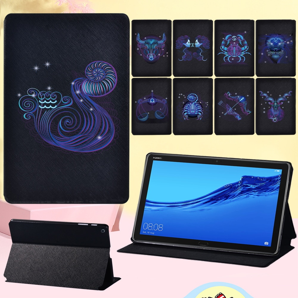 Dust-proof Cover Case for Huawei MediaPad M5 10.8 Inch/MediaPad M5 Lite 10.1 Inch Zodiac Pattern Leather Tablet Case + Stylus