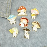 pin brooches funny mushroom cat enamel brooches shirt lapel bag cute badge cartoon jewelry gift for for kids friends 1 piece