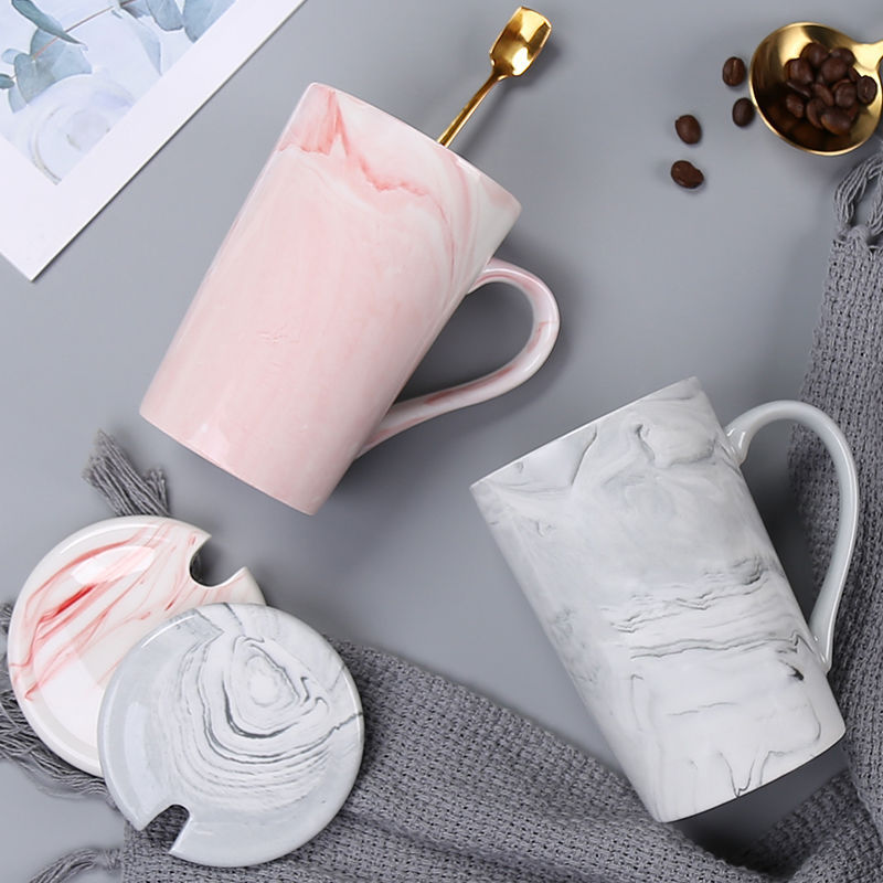 400ml Marble Ceramic Mug Travel Coffee Mug Milk Tea Cups Creative Mr and Mrs Mugs Pink Grey Breakfast Home Decoration New