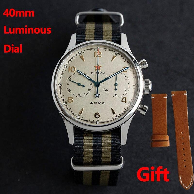 Retro Seagull Movement 1963 Chronograph 40mm Sapphire Watches Mens 2020 Pilot Luminous Mechanical Wa