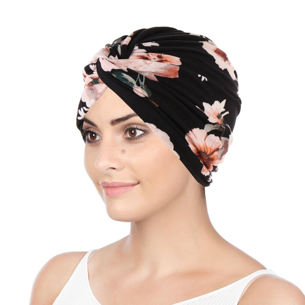 New Women Print Flower Knot Cancer Ruffle Chemo Hat Beanie scarf Turban Headwear Knitted Cap Hair Loss Cover new women stretch solid ruffle turban hat scarf knotted chemo beanie caps headwrap for cancer chemotherapy hair loss accessories