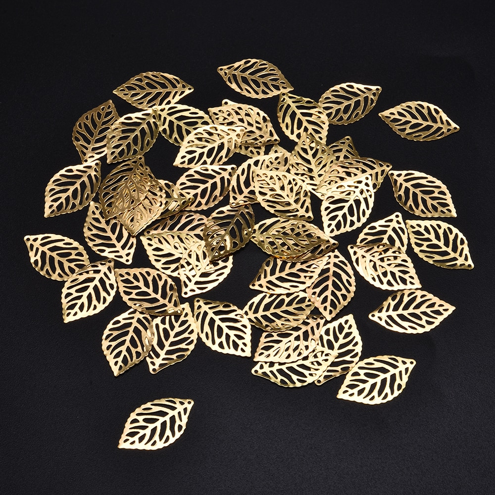 50Pcs Leaves Filigree Metal Crafts Jewelry DIY Accessories Pendant Chinese Costume Bride Coronet Metal Leaves