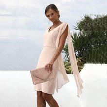 Latest Modern Peach Short Mother of the Bride Dresses V Neckline Cap Sleeves Wedding Party Dress Kne