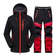Waterproof Hiking Suit Women Outdoor Thermal Fleece Softshell Jacket And Pants Sets Trekking Camping