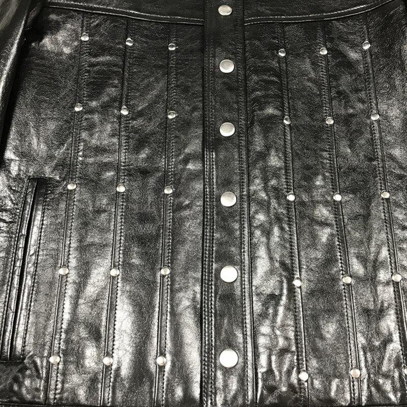 Genuine Leather Manual Rivet Mens Hip Hop Jackets Black Short Wide-Waisted Turn-Down Collar Single Breasted Streetwear Coat