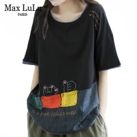 max lulu summer style 2021 tshirt women patchwork loose black tee ladies o neck embroidery cotton tops vintage clothes plus size