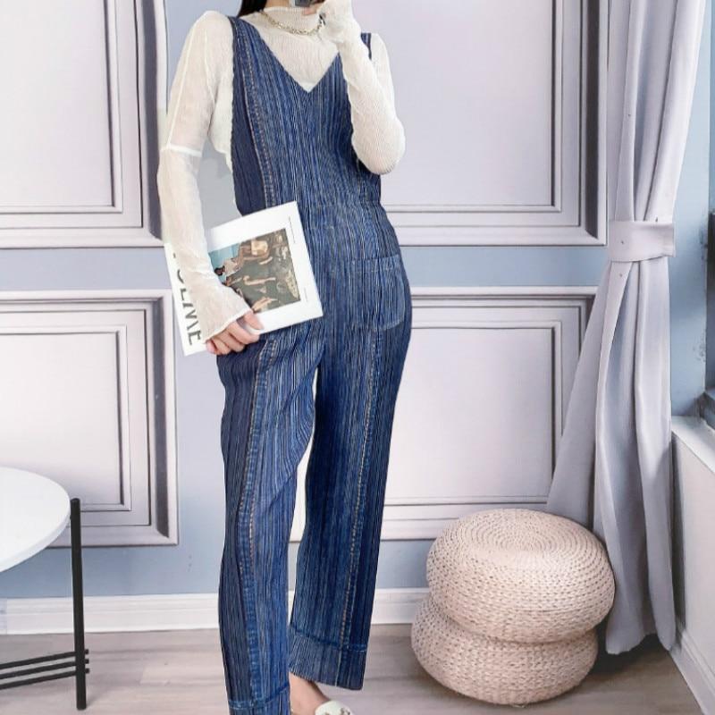 Conjunto de dos piezas mujer verano Miyake plisado 2020 con cuello alto nueva manga larga delgada Perspetive Top + Denim color monos trajes