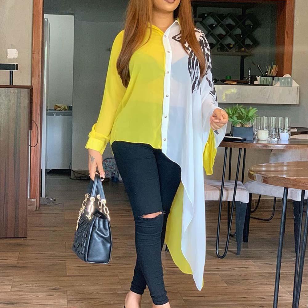 M-4XL كتلة اللون الأصفر غير متناظرة طويلة الأكمام بلوزة قميص المرأة Afircan مكتب السيدات عادية 2021 الصيف الخريف بلوزات كبيرة الحجم