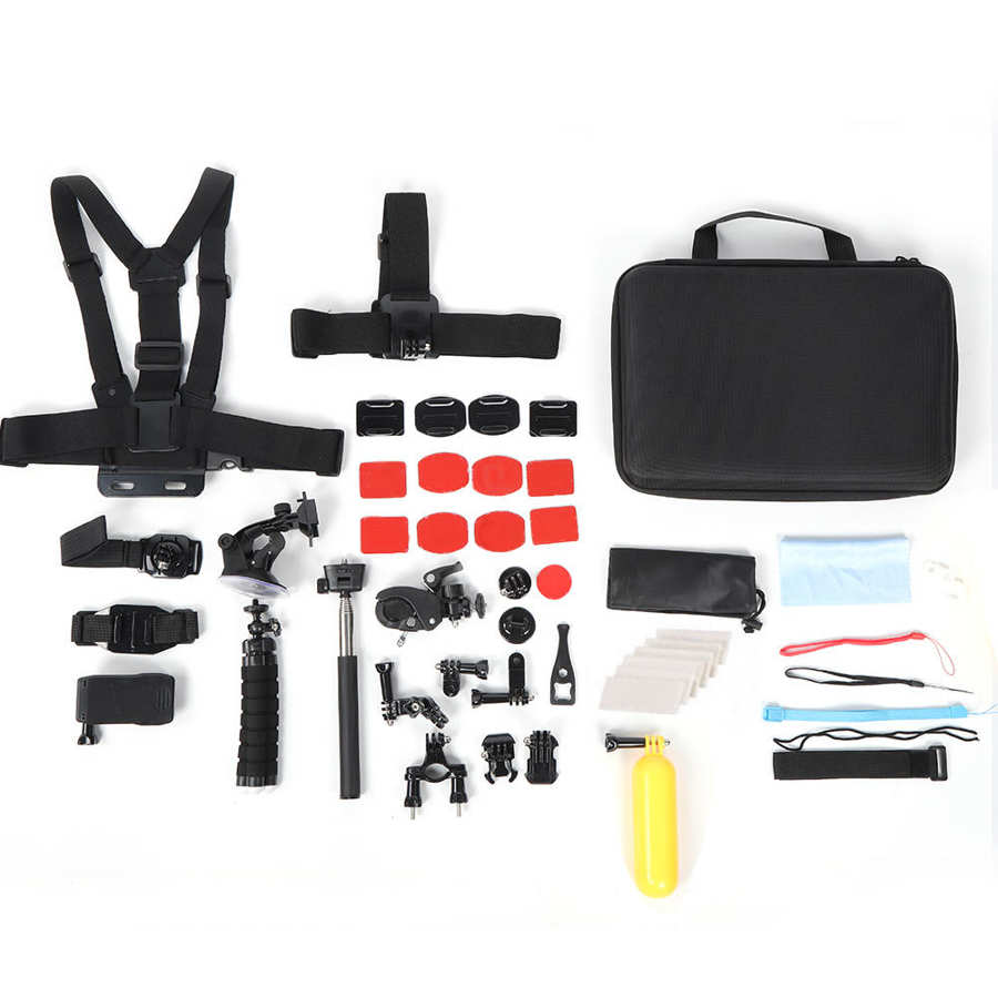 Portátil 25 em 1 conjunto de ferramentas da câmera ação acessório peito cinto suporte selfie vara acessórios da câmera ação