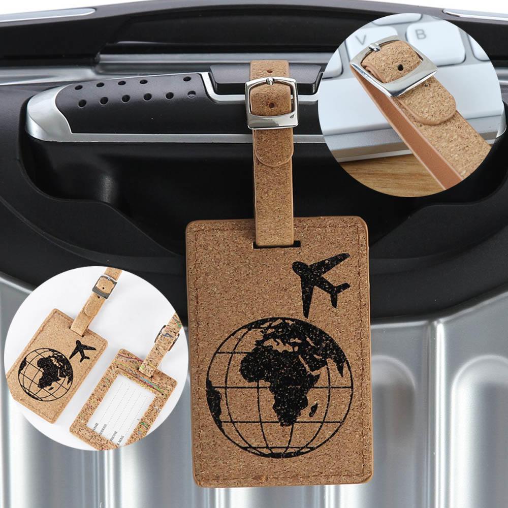 Etiqueta rótulo de equipaje de cuero para maleta de tierra, etiqueta de equipaje colgante para bolso, accesorios de viaje, etiquetas de identificación de dirección de identificación para maleta