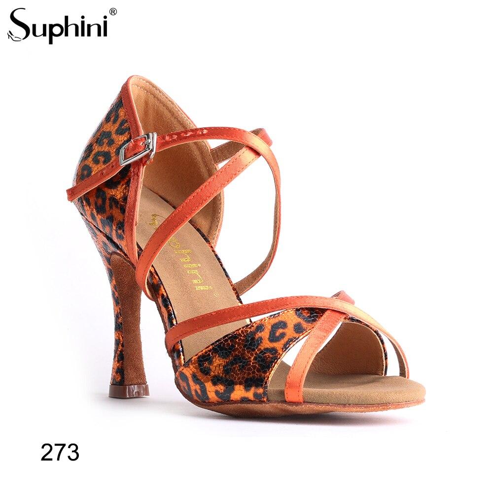 Suphini, zapatos de Salsa con estampado de leopardo naranja, plantilla de microfibra, zapatos de baile profesional, zapatos de baile latino