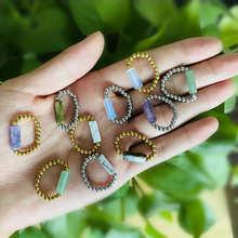 Женские кольца с натуральным камнем, ювелирные изделия, кольца из нержавеющей стали с аметистом Tigereye, из нержавеющей стали, золотые, серебря...