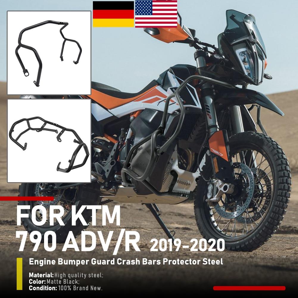 ملحقات الدراجات النارية واقي للمحرك وواقي للإطار من الصدمات يتوافق مع KTM 790 Adventure R 790 ADV 2019-2021 Black US
