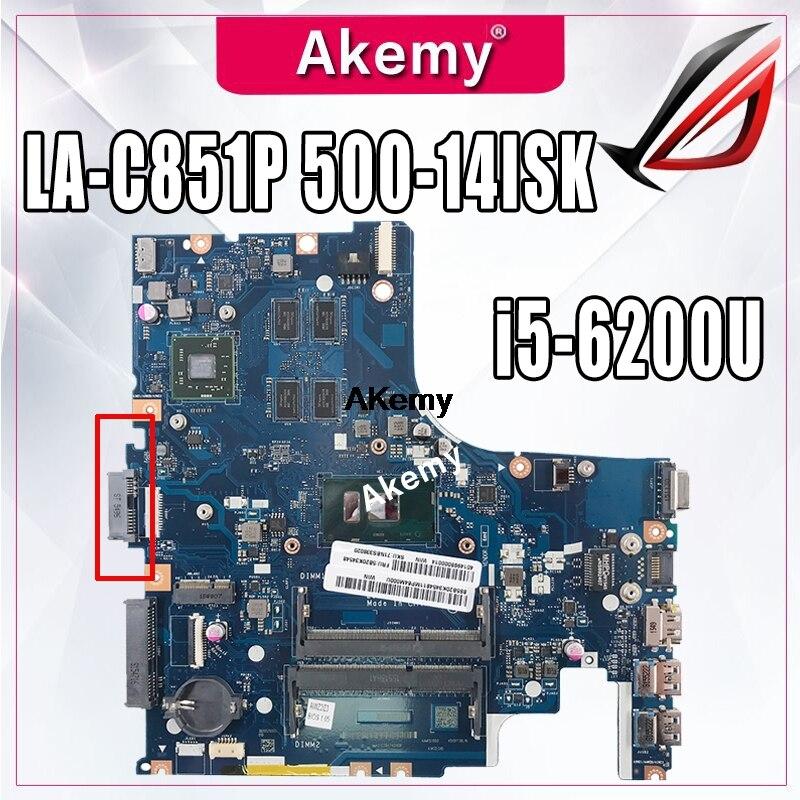 LA-C851P اللوحة المحمول لينوفو Ideapad 500-14ISK اللوحة الأصلية I5-6200U مع الفيديو بطاقة