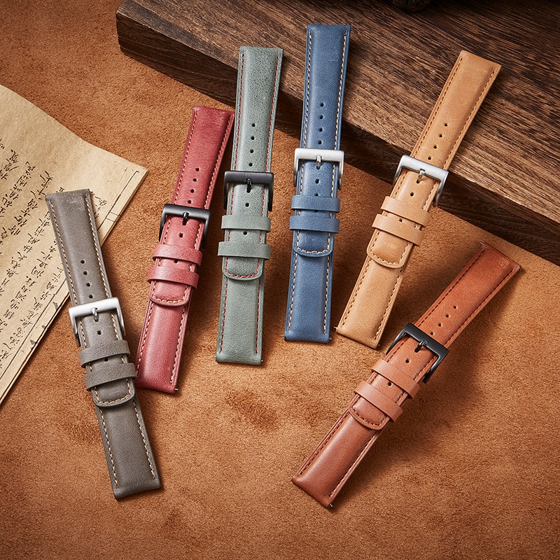 Genuine Leather Watch strap 20mm 22mm for Samsung Galaxy 42mm 46mm Band Quick Release Huawei gt2 Men Women