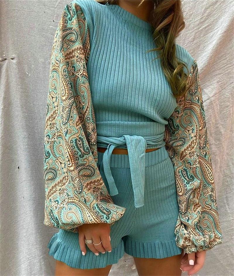 Fashion Women 2 Piece Outfits Patchwork Design Belt Ruffles Decor O-Neck Long Lantern Sleeve Print TOP+Elastic High Waist Shorts
