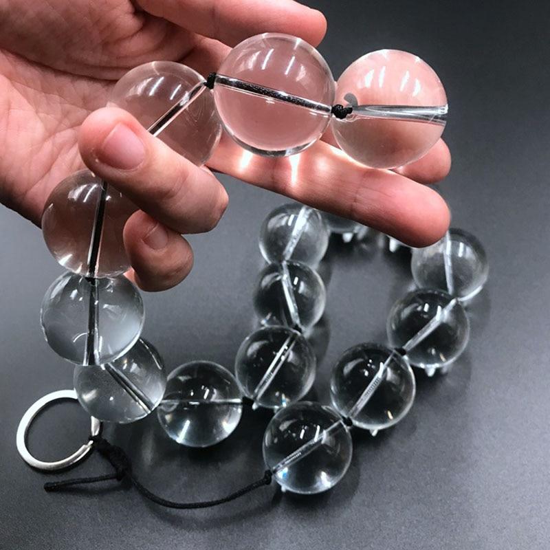 Супер длинные стеклянные анальные шарики, большая Анальная пробка, акриловые анальные шарики, простата, массаж вагины Plug, секс-игрушки для п...