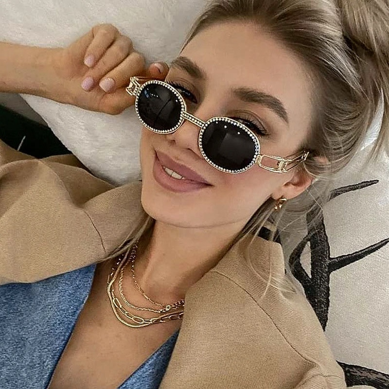 Новинка 2021, солнцезащитные очки со стразами, женские модные круглые очки в стиле стимпанк, мужские солнцезащитные очки, солнцезащитные очки...