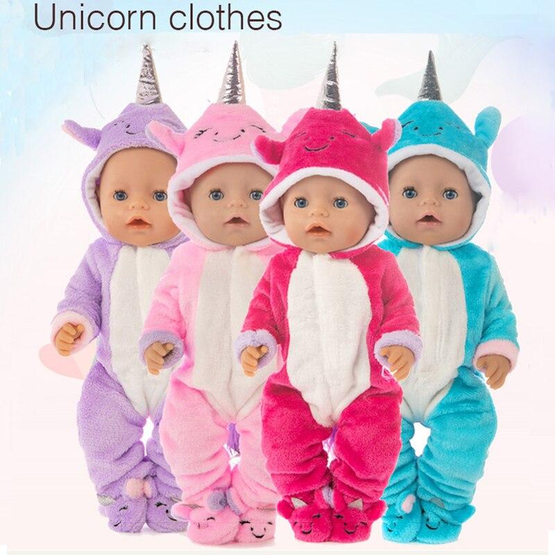 Ubranka dla lalki 43cm 40cm laleczka bobas futro jednorożec pajacyki z buty dla 18 Cal dziewczyna lalka strój codzienny