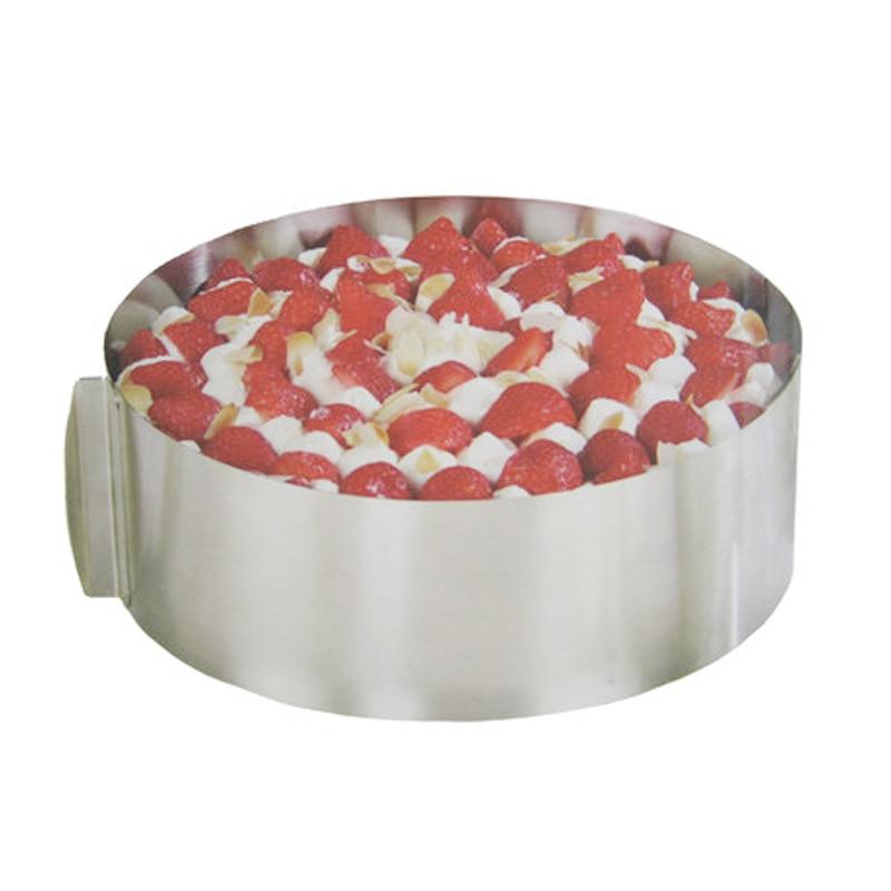 Molde de Mousse de acero inoxidable, círculo ajustable, molde para hornear pastel en capas de estiramiento