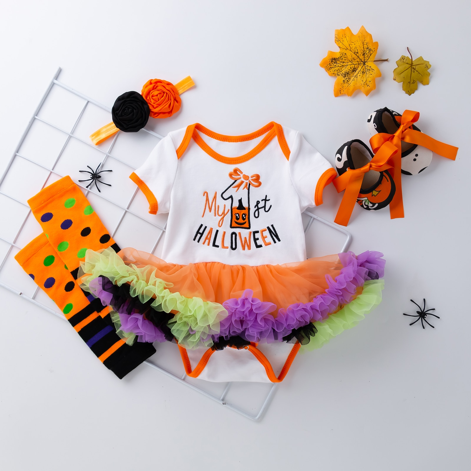 Baby Clothes Girl Outfit My First Halloween Girl Set For Newborns Girl 4Pcs Clothing Newborn Baby Clothes недорого