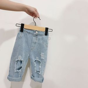 2 3 4 5 6 Years Toddler Boys Jeans Casual Hole Denim Pants for Boy Spring Summer 2020 Elastic Waist Baby Kids Pants Child Pants