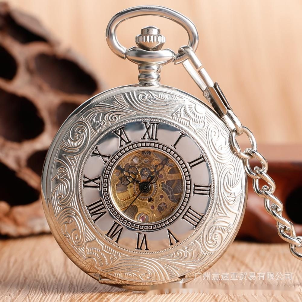 Double Cover Classic Roman Double Display Mechanical Pocket Watch Men's And Women's Gift Antique Pocket Watch enlarge