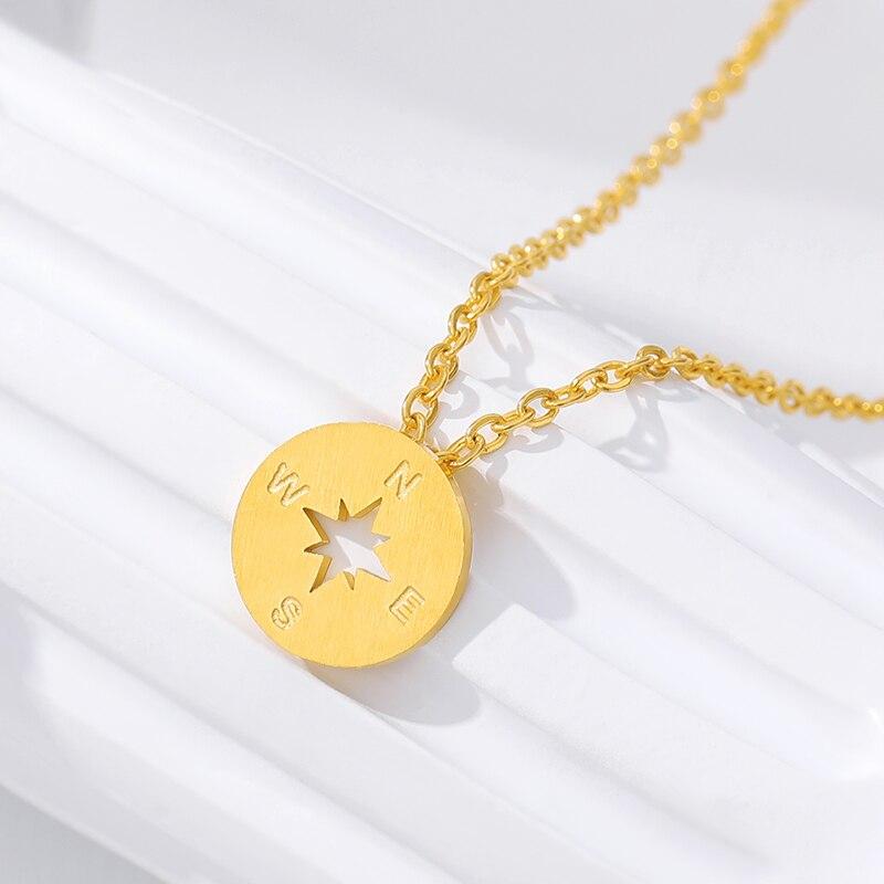 Oro Plata Color Femme Collier Gargantilla Collar Vintage Cadena de Oro Rosa de Acero Inoxidable Brújula Ronda Collares y Colgantes