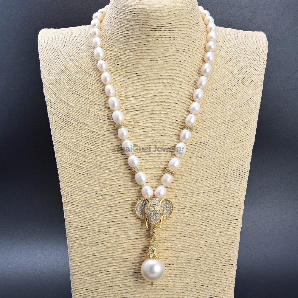 GuaiGuai Schmuck 21 Kultivierte Weiße Reis Perle Halskette Cz Pflastern Elefanten Meer Shell Perle Anhänger