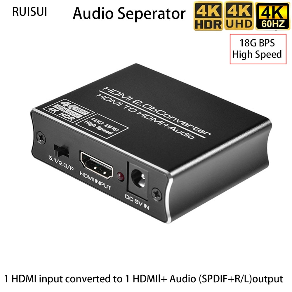 RUISUI 4K Hdmi Splitter HDR 4K 2K 60Hz UHD 1 in 2 Out Hdmi Audio Seperator Support SPDIF+R/L Analog Audio Output 18Gbps for TV