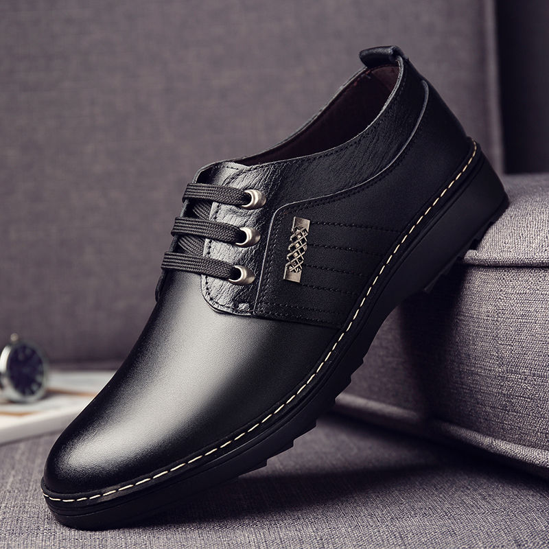osco 2018 spring summer men shoes youth business british black casual genuine leather breathable dress office shoes men oxford Men's real leather shoes trend all-match Dress shoes male breathable casual shoes British black business Genuine leather shoes