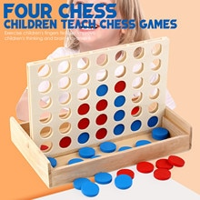 Wooden Kid Chess Boxed Three-dimensional Four-connected Chess Double Puzzle Student Chess Educationa