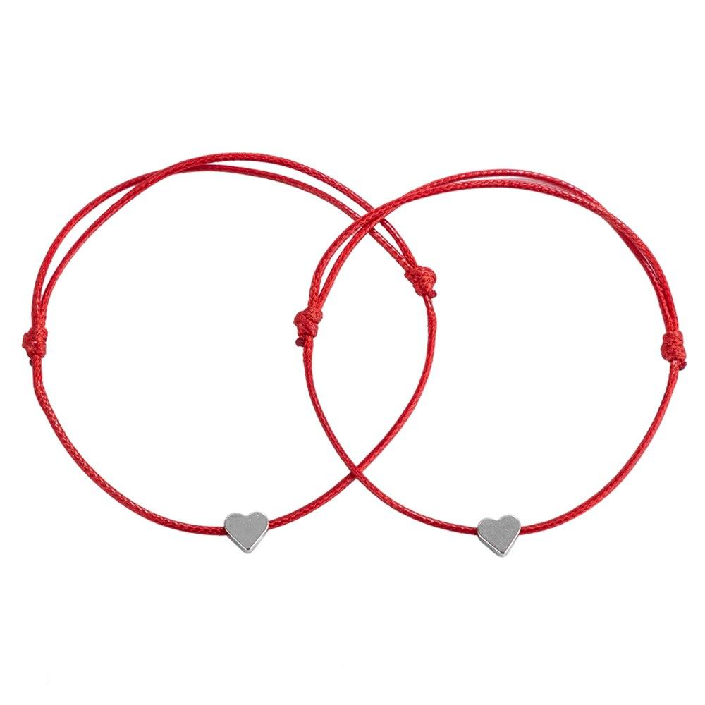 Pulseira de fio amuleto vermelho, cor prata, coração, charme, proteção para homens mulheres, ajustável, joias