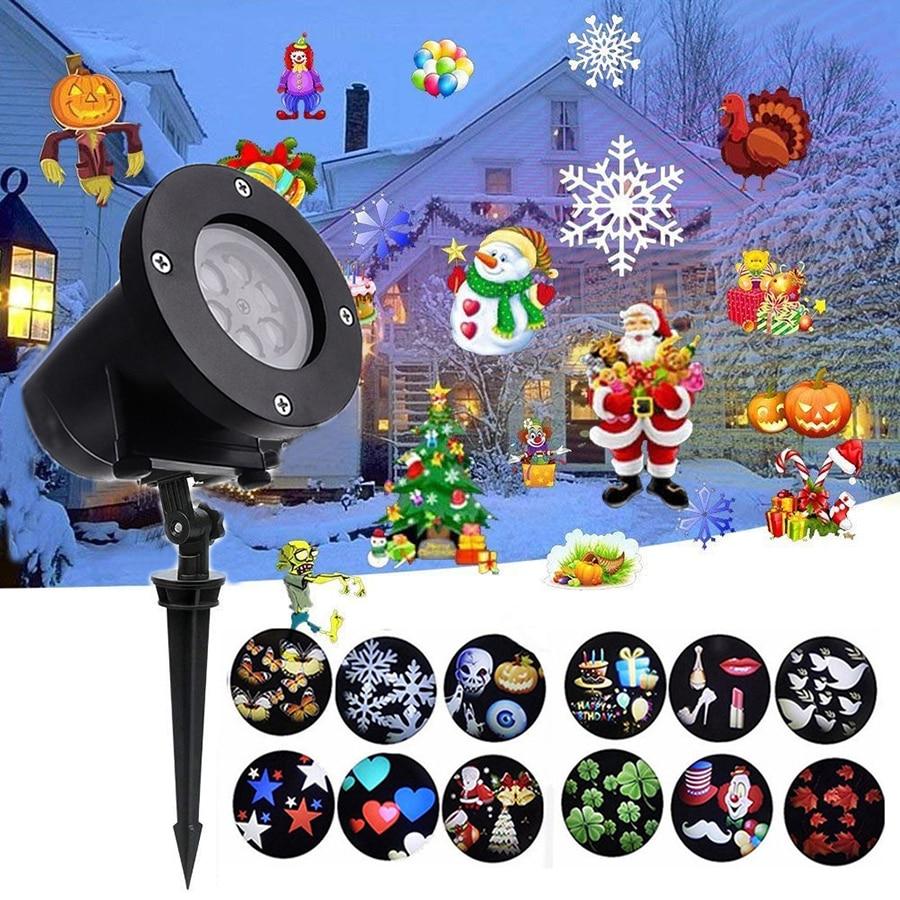 Thrisdar 12 tobogán vacaciones al aire libre LED proyector luz Navidad copo de nieve proyector lámpara jardín paisaje proyector Luz