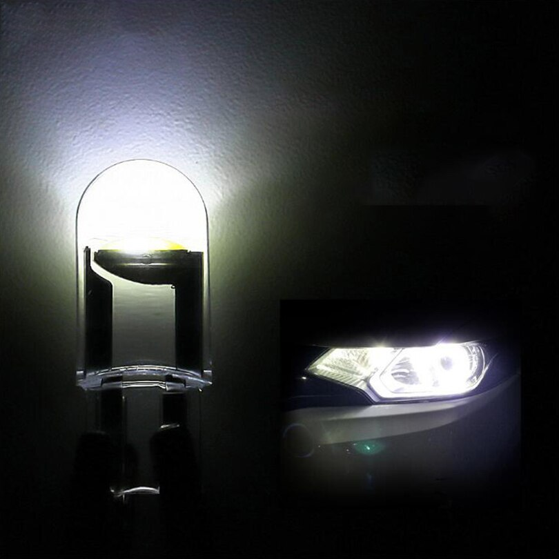 10pcs Car LED T10 W5W COB Reading Dome Lamp Marker Light Wedge Lights License Plate Bulbs car light interior White Reading Light