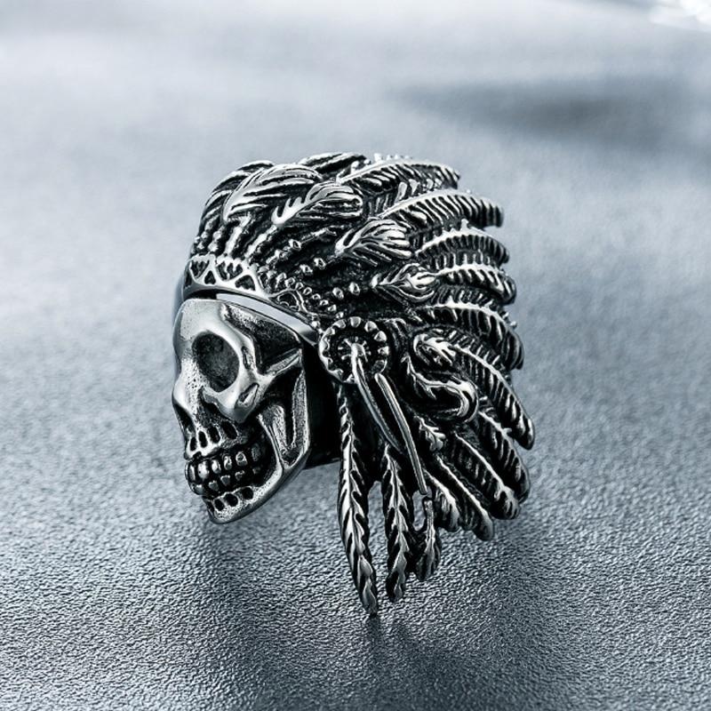 Nuevo Anillo de acero inoxidable para motorista a la moda para hombres tribal Apache jefe indio cabeza anillo Punk Rocker joya con figura anillo Masculino