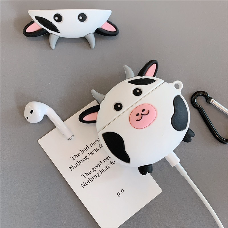 Linda vaca de dibujos animados para Apple Airpods funda divertida Buletooth auricular funda de auriculares de dibujos animados caja para Air pods funda de carga bolsa