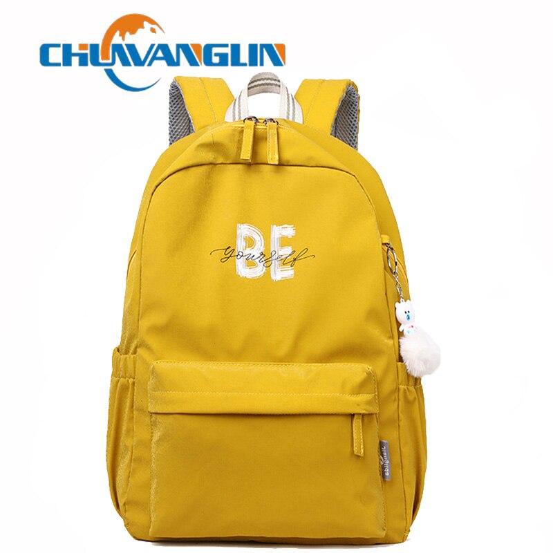 Chuwanglin College style Womens Backpack School Bag for Teenage Girls Waterproof Nylon bag Travel Soulder Bags Female A91603