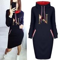 black dress flower letter n print bodycon dresses party club long sleeve vintage short dress casual 2021 fall women