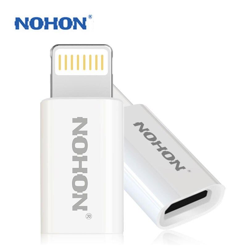 Conector adaptador USB de 8 pines NOHON a Micro cargador de Cable USB para iPhone 8 7 6S Plus 5 5S iPad iPod conector de sincronización de datos de carga rápida