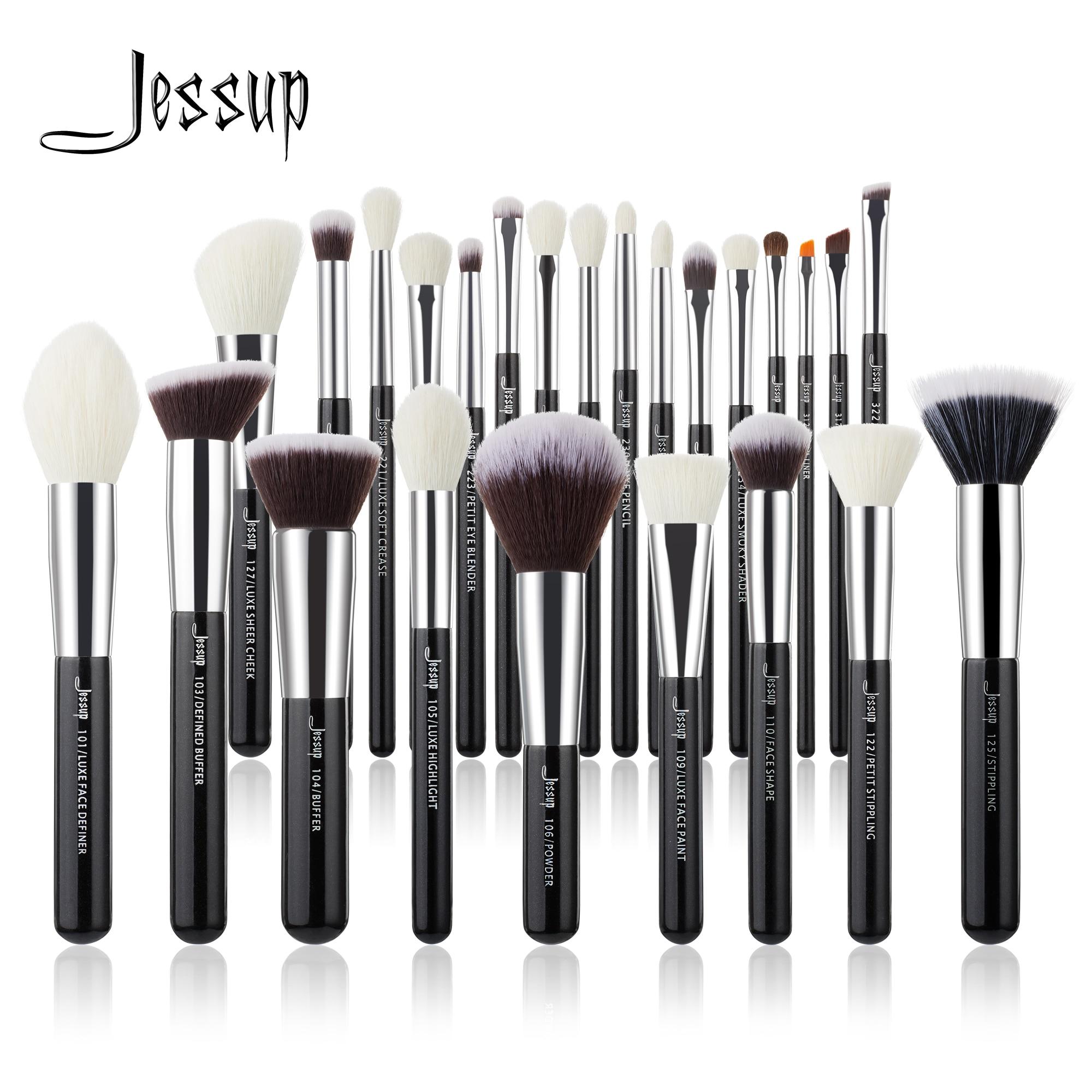 aliexpress.com - Jessup Makeup brushes set Black/Silver Professional with Natural Hair Foundation Powder Eyeshadow Make up Brush Blush 6pcs-25pcs