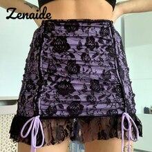 Zenaide florale dentelle noire Mini jupes Y2K mode tenues cordon taille haute à volants court e fille femmes jupes