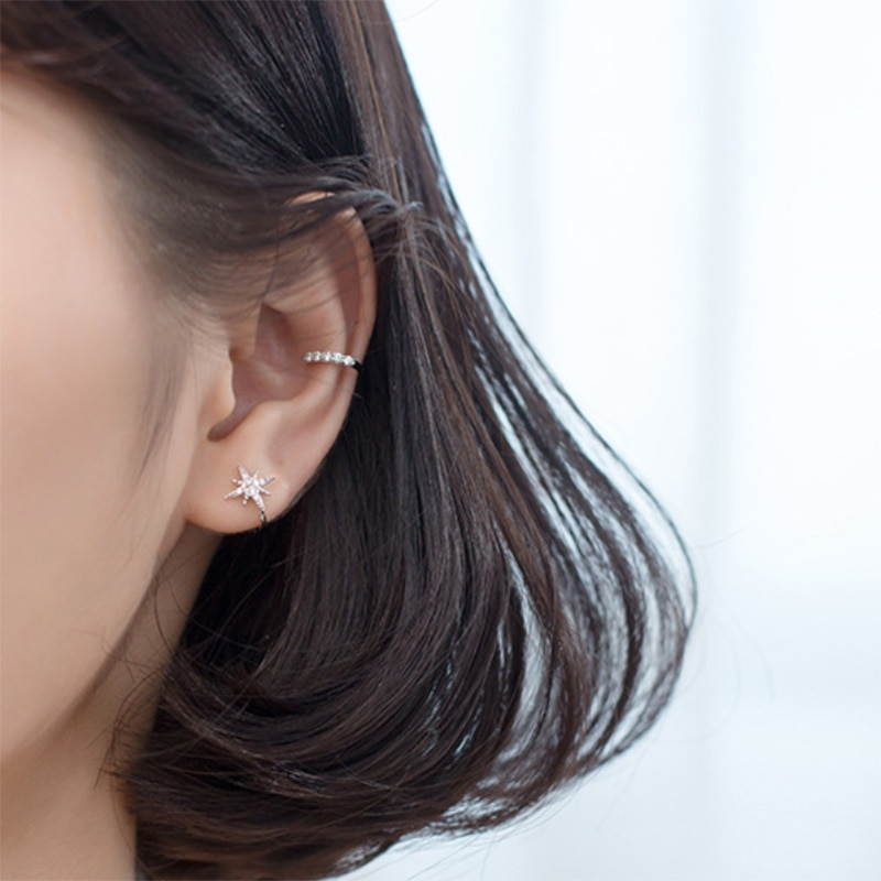 Trustdavis 100% 925 пробы серебряные блестящие CZ серьги-манжеты на клипсах для женщин и девушек без серьги в стиле пирсинга ювелирные изделия DA372