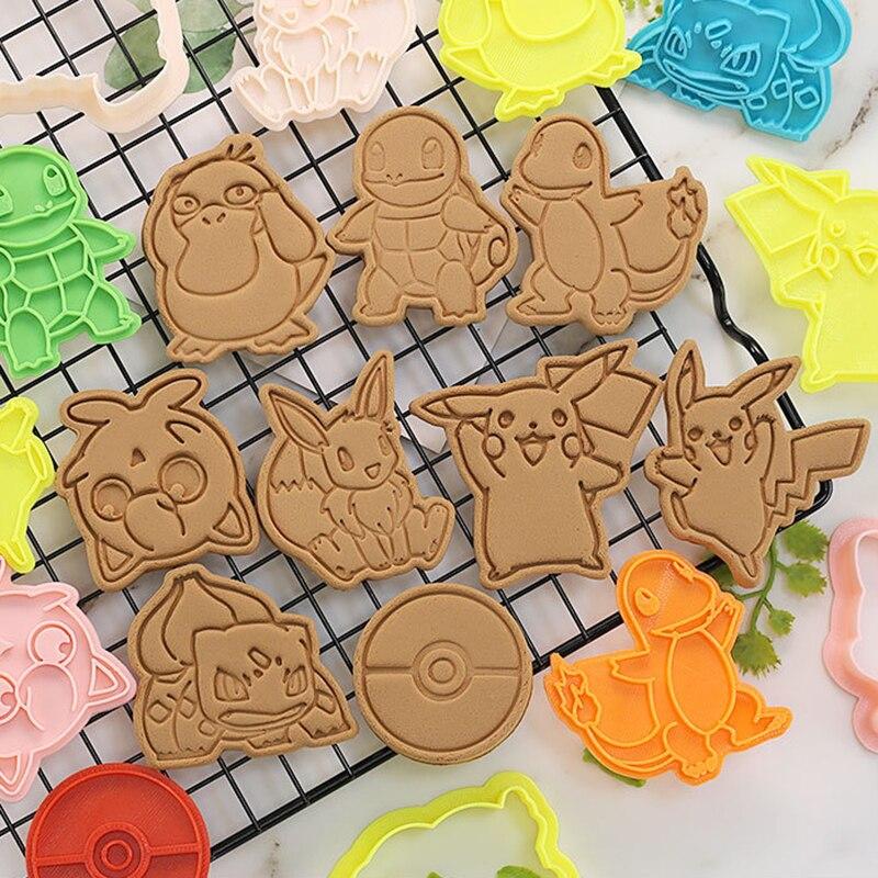 Pokemon cortadores de biscoito 3d desenhos animados pikachued crânio molde plástico pressionando divertido molde de cozimento unicórnio molde de biscoito cozimento prop