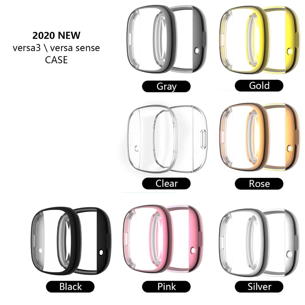 Funda de Tpu suave para Fitbit Versa 3 /Fitbit Sense, carcasa de reloj impermeable, Protector de pantalla para Fitbit Versa 3, funda completa