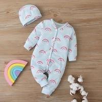 2020 talloly explosive baby romper rainbow print long romper baby jumpsuit free hat