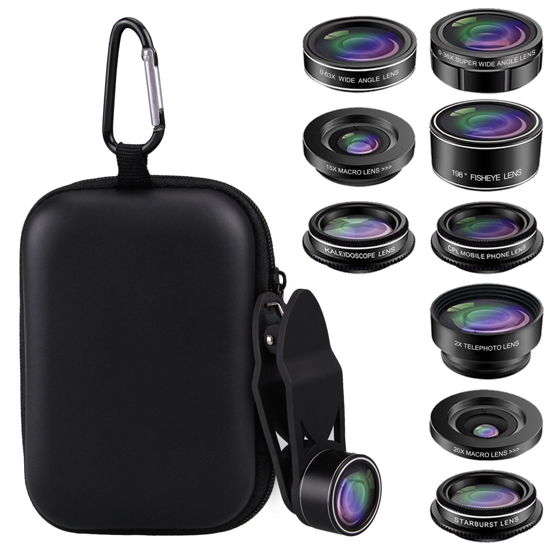 9 в 1 универсальный набор объективов для камеры телефона с широкоугольным телеконвертером Рыбий глаз Макро Звездный фильтр круговой поляризационный фильтр калейдоскоп объектив