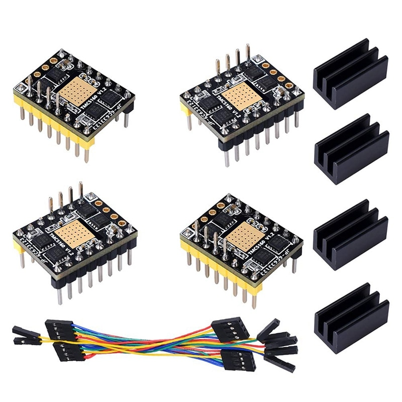 HOT-TMC5160 V1.2 Stepper Motor StepStick Mute Silent Driver Support SPI with Heatsink for 3D Printer Control Board (4 Pieces)
