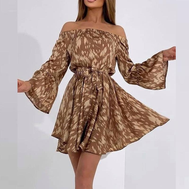 2021 New Strapless Loose Printing  Long  Sleeve Mini Dress Female  Ruffle Sleeve Slash Neck Summer Sexy Cupcake Dresses